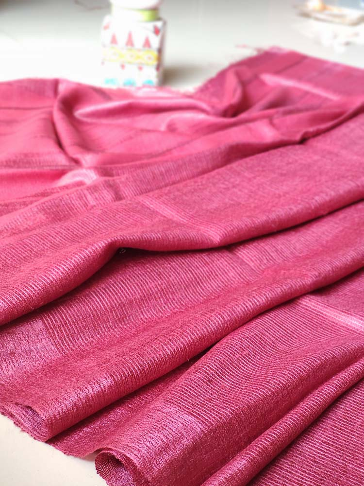 Maroon striped bhagalpuri tussar saree with striped blouse
