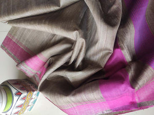 Brown bhagalpuri tussar saree with pink border, striped aanchal & plain pink blouse