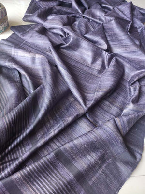 Black & purple striped bhagalpuri tussar saree with striped blouse