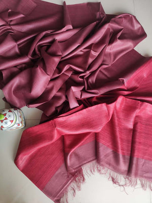 Magenta moonga/munga silk with pure tusser dark red aanchal and tusser blouse