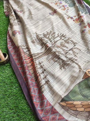 Madhubani digital trees and birds print on cotton silk saree in beige