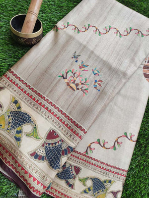 Madhubani digital fish print on cotton silk saree in beige
