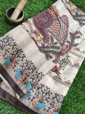 Madhubani digital peacock & deer print on cotton silk saree in beige