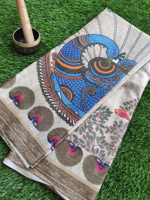 Madhubani digital peacock print on cotton silk saree in beige