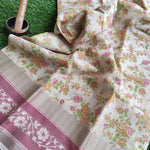 Allover yellow floral Printed cotton cream saree with resham floral border