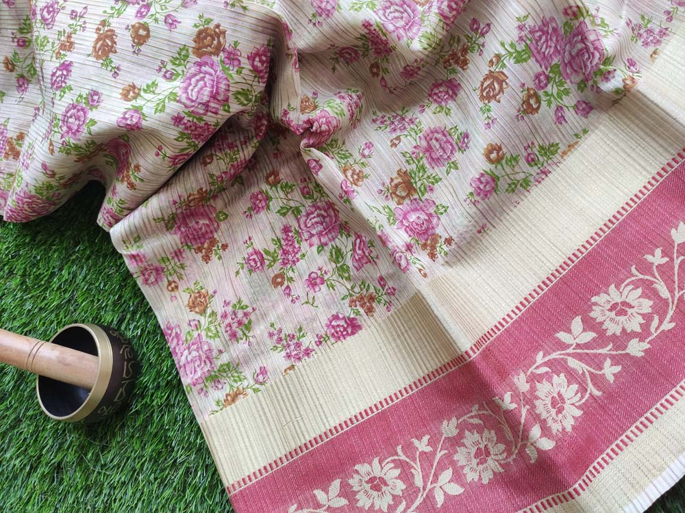 Allover floral Printed cotton cream saree with resham floral border
