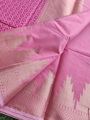 Allover Printed cotton Pink saree with light gold zari border