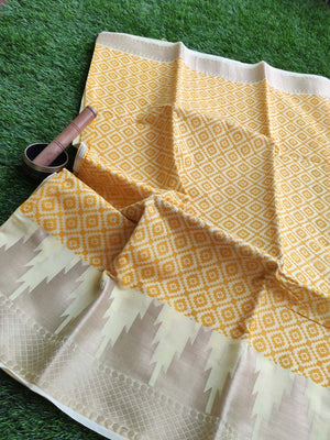 Allover Printed cotton light yellow saree with light gold zari border