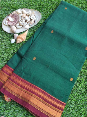 Green narayanpet south cotton saree with maroon zari border and booties