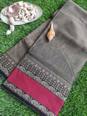 Brown narayanpet south cotton saree with maroon & resham border