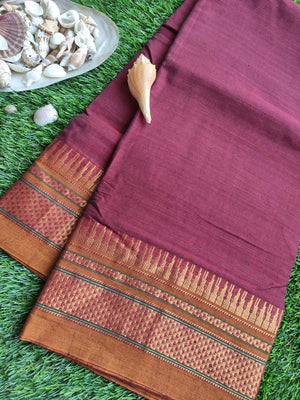 Maroon narayanpet south cotton saree with zari border