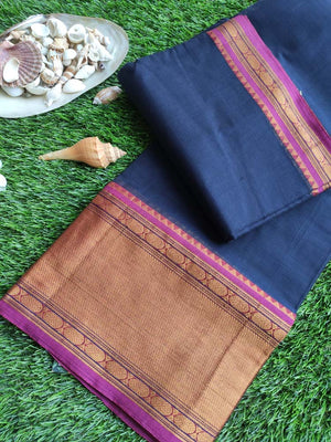 Dark blue narayanpet south cotton saree with wide zari border