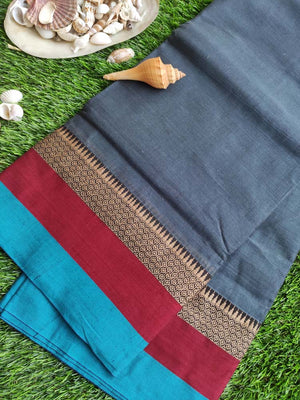 Grayish blue narayanpet south cotton saree with resham and colorful border