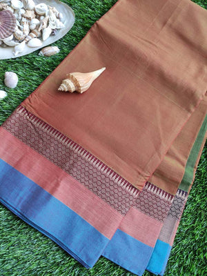 Brown narayanpet south cotton saree with resham border