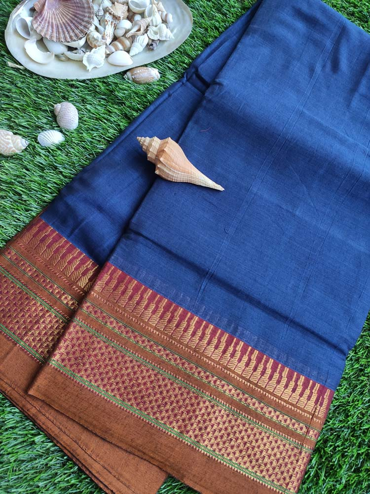 Royal blue narayanpet south cotton saree with brown and golden zari border