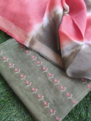 Dark green linen tusser suit material with overall embroidery and contrasting linen dupatta