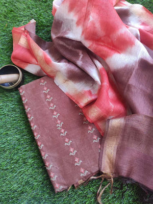 Brown linen tusser suit material with overall embroidery and contrasting linen dupatta
