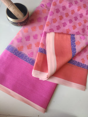 Allover floral woven booties on pink kora sarees & pink border