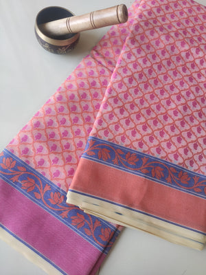Allover floral multicolor woven booties on cream kora sarees & pink border