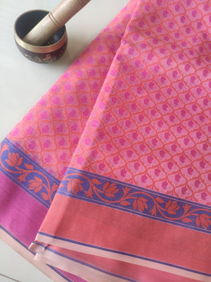 Allover floral multicolor woven booties on pink kora sarees & orange & pink border