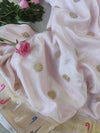 Pleasant baby pink silk saree with gold zari booties allover paithani border and aanchal