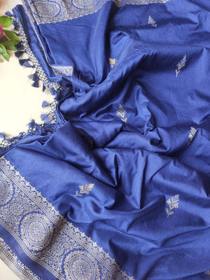 Royal blue soft silk with silver & light gold zari booties and border