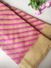 Cream kora saree with geometric diagonals of pink resham & gold zari border