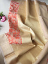 Cream kora saree with floral jaal of orange resham & zari border