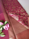 Maroon red kora saree with floral zari jaal allover & zari border