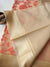 Cream kora saree with floral jaal of orange resham & gold zari border