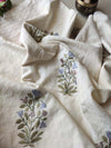 Off white cotton Jacquard embroidered dress material with zari woven organza grey dupatta