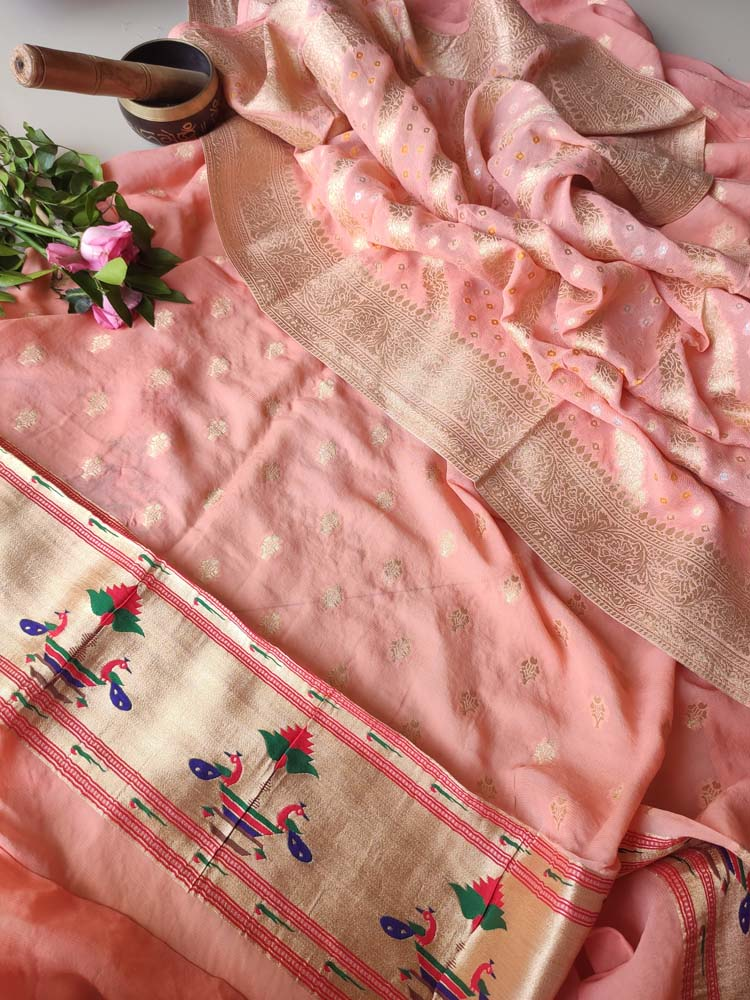 Pure khaddi georgette peach suit piece ,allover zari jaal on dupatta, booties on dress material with paithani border