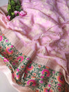 Pure khaddi georgette pink suit piece ,allover zari jaal on dupatta, booties on dress material with paithani border