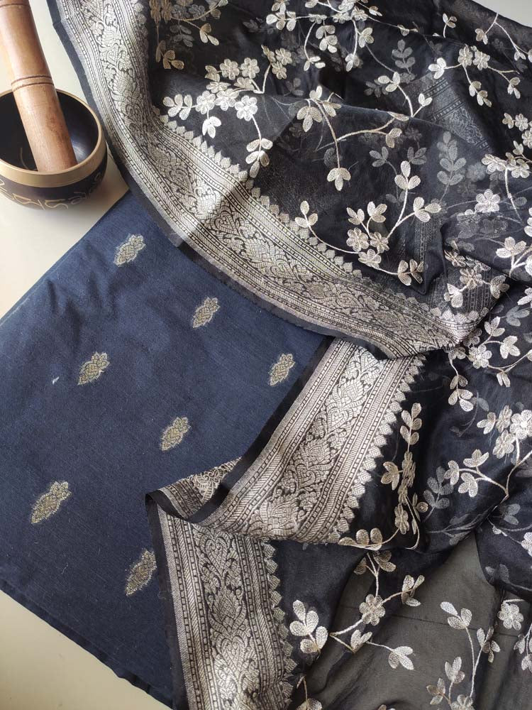 Black & Dark blue chanderi dyeable dress material with zari booties and organza embroidered dupatta