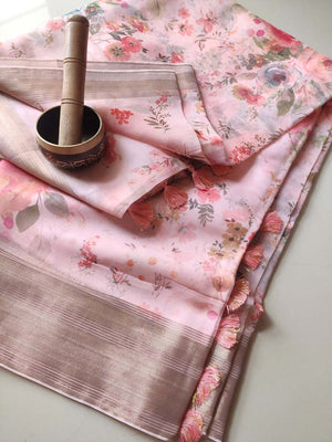 Light pink digital floral printed kora saree with golden zari border & printed blouse