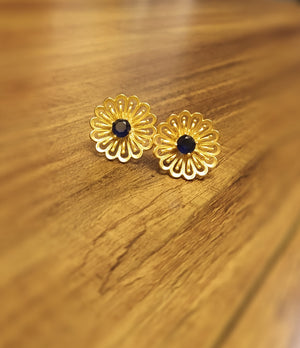 Navy blue stone flower studs