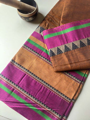Wide colorful border in resham on brown narayanpet south cotton saree
