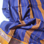 Blue narayanpet south cotton saree with mustard elephant resham border