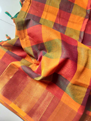 Multicolor checks on narayanpet south cotton saree with zari border