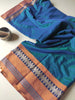 Turquoise Green/Blue narayanpet south cotton saree with temple resham border
