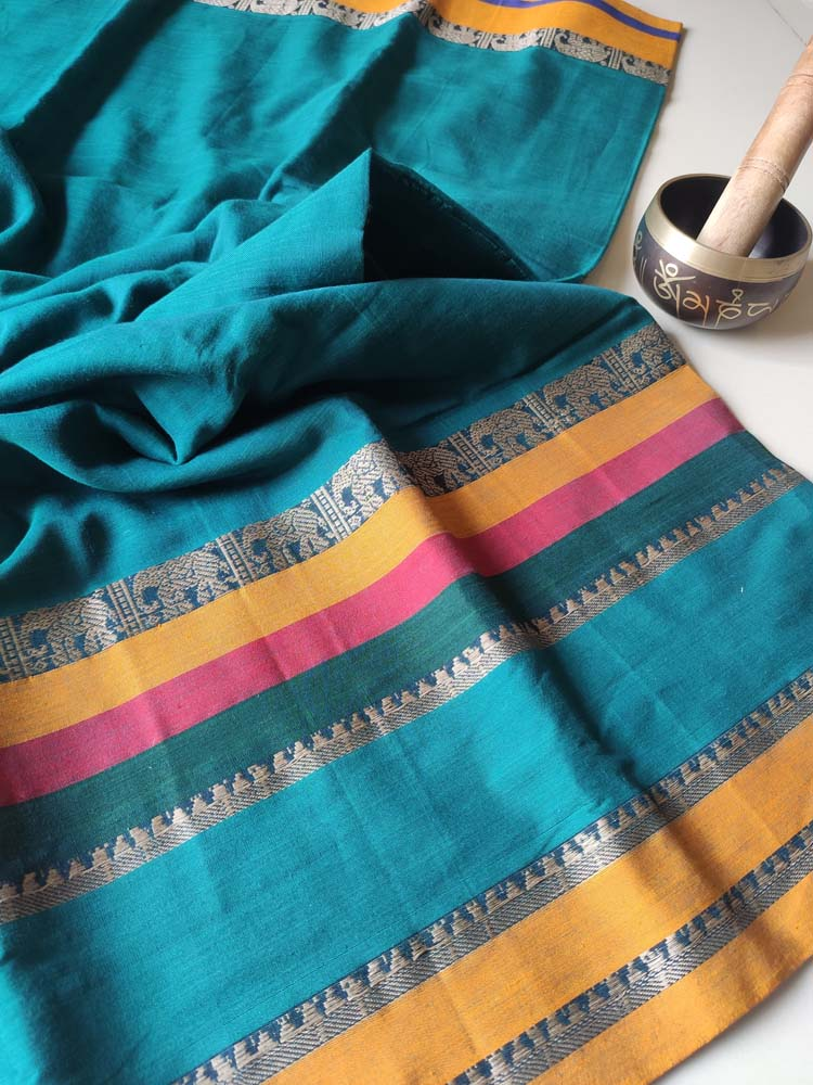 Green narayanpet south cotton saree with wide colorful elephant resham borders