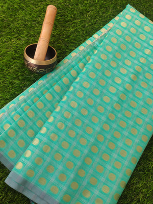 Tissue kota saree with polka dots allover and zari aanchal