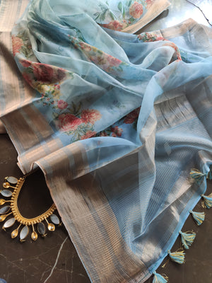 Blue digital floral printed kora saree with golden zari border & printed blouse