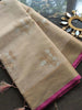 Antique gold & silver border and booties on beige kota saree