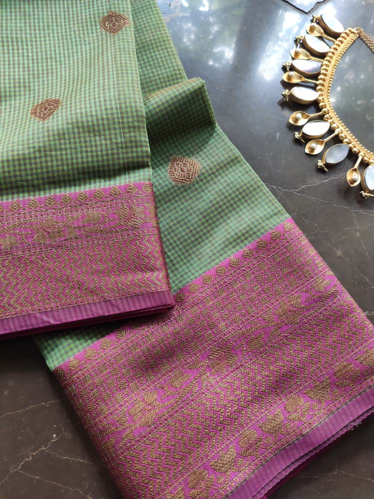 Small checks on green chanderi with pink zari border and zari booties allover