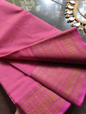Small checks on pink chanderi with pink zari border and zari booties allover