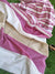 White & mauve striped cotton silk saree