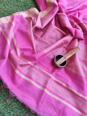 Pink cotton silk with zari border &. striped blouse