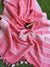 Peach pure linen sari with zari border