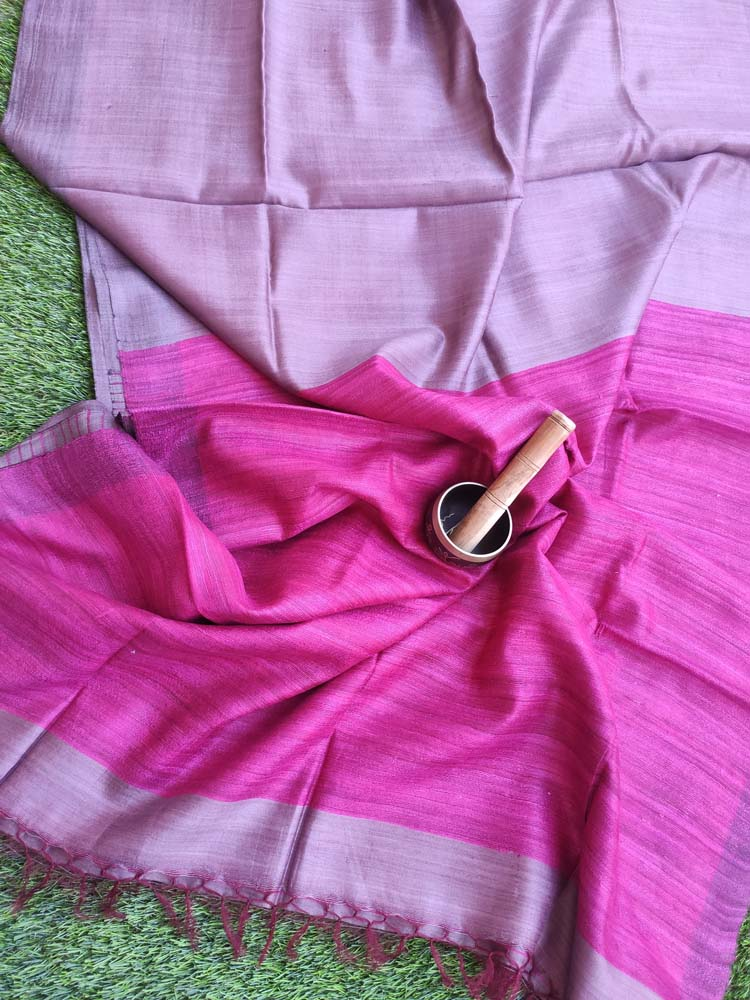 Pinkish grey munga with magenta tusser aanchal and striped blouse